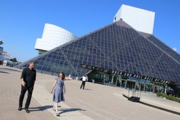 Greg Harris, giving me a tour of the Rock Hall on my honeymoon